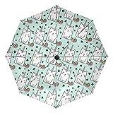 Chic Houses 2030073 - Paraguas portátil de Viaje con diseño de Unicornio y Estrella de Gato con Cierre automático, Plegable, Estilo Fresco, con protección UV, Resistente al Viento y al Agua