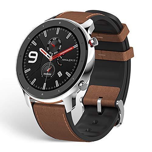 Amazfit GTR スマートウォッチ 腕時計 歩数計 着信通知 12日間の連続使用 高精細 AMOLEDディスプレイ 5ATM防水 12種類運動モード (47mm, ステンレススチール)