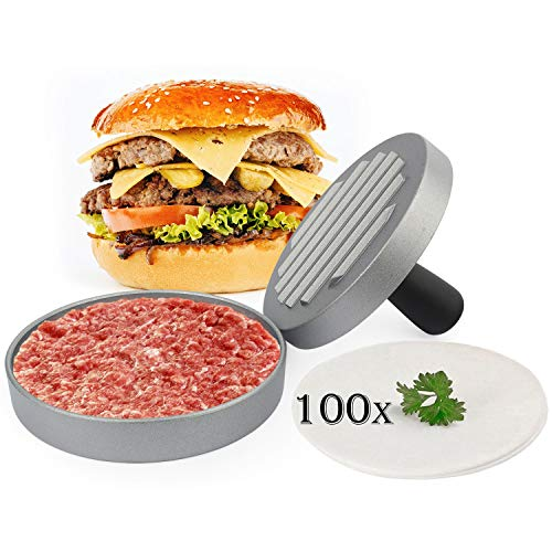 Belmalia Burgerpresse 100 Blatt Backpapier für perfekte Burger, Hamburger, Cheeseburger, Frikadellen, Patties, Presse, Grill, antihaftbeschichtet, 11 cm