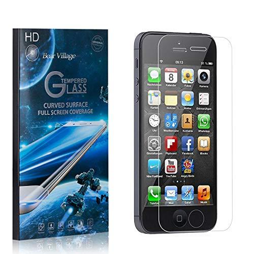 Bear Village® Displayschutzfolie für iPhone 5C, 9H Hart Panzerglasfolie, Anti Kratzen, 99% Transparente Schutzfilm aus Gehärtetem Glas für iPhone 5C, 1 Stück