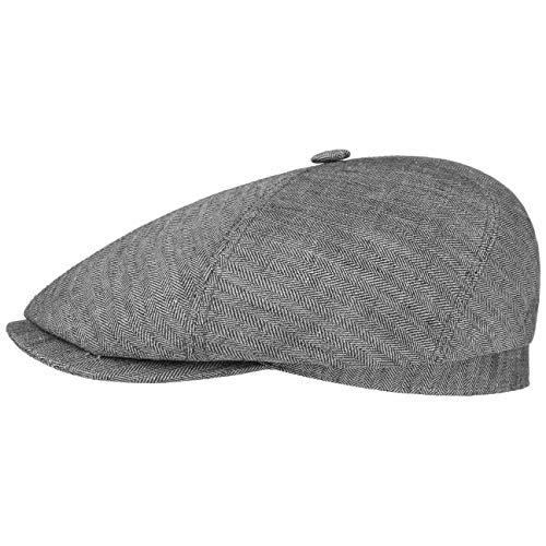 Stetson Brooklin Leinen Schirmmütze Damen/Herren - Sommercap mit Fischgratmuster - Leinenmütze Herringbone - Ballonmütze Frühjahr/Sommer grau XXL (62-63 cm)