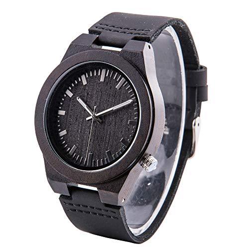 Gravierte Uhr für Männer, Persönliche Geschenke, Armbanduhr aus Ebenholz schwarzes Lederarmband, Geburtstagsgeschenk für Ehemann und Freund, Trauzeugen Geschenk