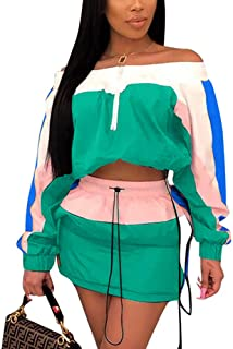 Molilove Women 2 Piece Outfits Off Shoulder Windbreaker Shorts Tracksuit