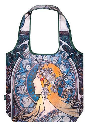 Baagl Einkaufstasche Faltbar - Umweltfreundliche Tasche für Lebensmittel - Ökologische Wiederverwendbare Tragetasche für Damen und Mädchen (Mucha Zodiac)