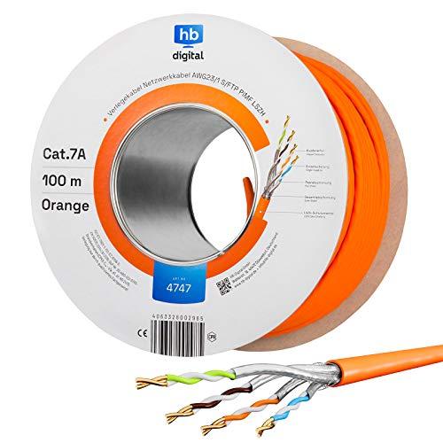 HB-DIGITAL 100m cat.7A cable de red cable LAN AWG 23/1 Naranja Cable cat 7 cobre profesional S/FTP PIMF LSZH libre de halógenos RoHS compliant Cat7a cat.7 a cable de datos Ethernet 10 Gbit 1000 MHz