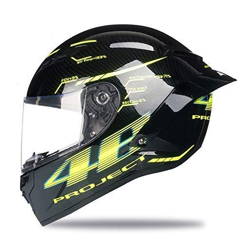 Woljay Vollgesicht Motorradhelm Unisex-Erwachsener Offroad Moto Street Bike ATV Helme 46 Glas DOT Approved (Transparent,L)