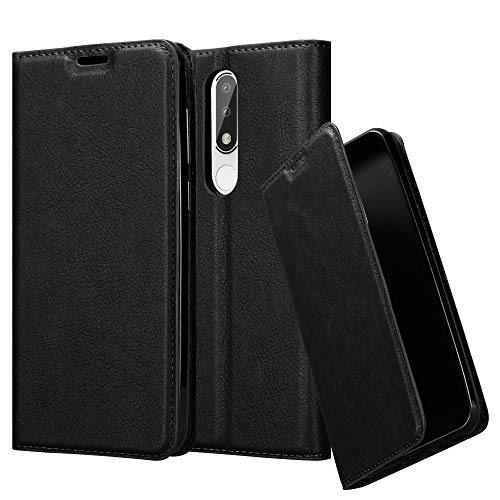 Cadorabo Hülle für Nokia 5.1 Plus in Nacht SCHWARZ - Handyhülle mit Magnetverschluss, Standfunktion & Kartenfach - Hülle Cover Schutzhülle Etui Tasche Book Klapp Style