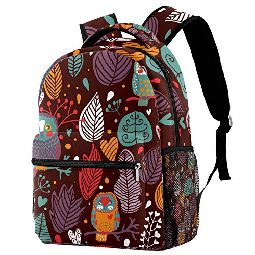 Sports Backpack Gym Bags with Shoe Compartment Wet Pocket Travel Backpacks Anti-Theft Pocket Water Resistant Workout Bag (Colorful)Owl Stand On The Branch Leaves Colorful