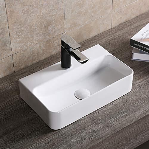 Art-of-Baan® - Design Waschbecken Aufsatzwaschbecken hochwertiges Sanitär Keramik mit Lotuseffekt, Hochglanz weiß + Wandaufhängung 450x275 x 105 mm Neues Waschbecken!(0072B)