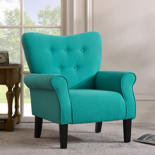 Merax Modern Upholstered Accent Chair Armchair for Bedroom, Living Room or Office, Linen, Including Thick Cushion and Wooden Legs, Tiffany Blue