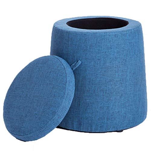 FTFTO Productos para el hogar Taburete de Tela de Color sólido Taburete de sofá Redondo Cambio de Banco de Zapatos con Almacenamiento Sala de Estar Decoración del hogar Muebles (Color: Rojo)