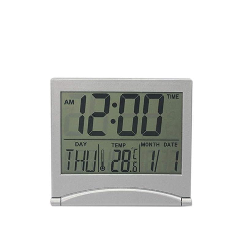 昼寝不測の事態ペダルuzinby 電子デジタル多機能 目覚まし時計 温度 カレンダー 大きな液晶画面 大型画面 折りたたみ ミニサイレント デスク 旅行 簡単 携帯 置き時計