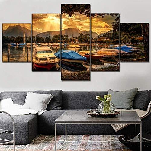 WLKJ 5 Pinturas consecutivas Cuadro de Lienzo Decoración del hogar Póster de impresión en HD 5 Piezas de Cielo de Nubes Puesta de Sol Muelle de yate Pintura Arte de la Pared de la Sala de Estar