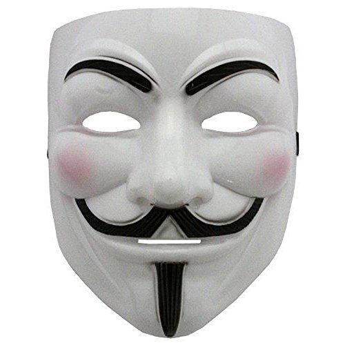 VintageⅢ 2018 New V for Vendetta mask with Nostril Eyeliner Halloween mask Anonymous Guy Fawkes Fancy mask (white2)