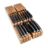 Homemaid Living In-Drawer Bamboo Knife Block Holds 14 Knives Plus a Slot for your Knife Sharpener,...