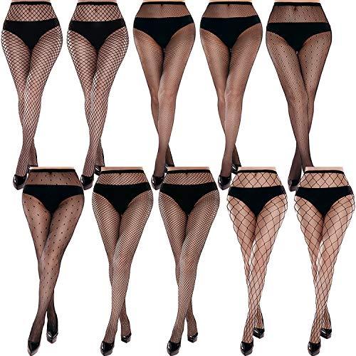 Duufin 10 Paires Collants Resille Noir Collant Maille pour Femme, 6 Styles