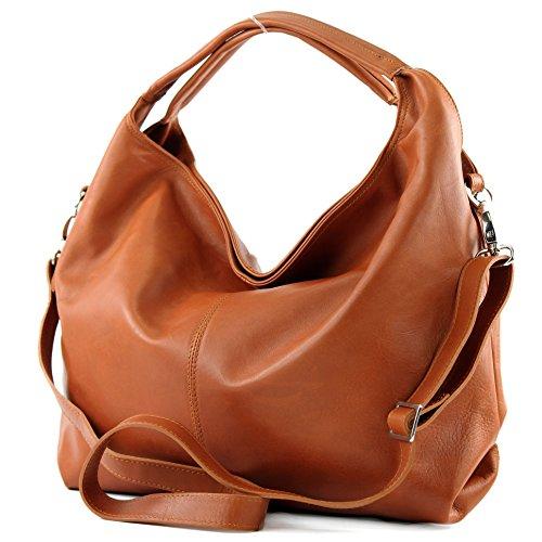 modamoda de - DS26 - ital Damenhandtasche aus Nappaleder, Farbe:Camel
