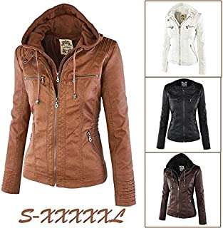 Women's Warm Winter Leather Coat Plus Size Autumn Winter Long Sleeve Zipper Jacket Motorcycle Coat Stylish Slim Removable Hooded Leather Jackets(Apricot,XXXXL)