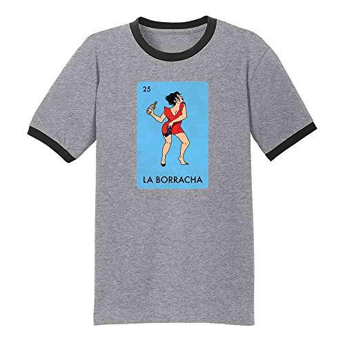 Pop Threads La Borracha Drunk Woman Mexican Lottery Funny Parody Grey/Black S Graphic Tee Ringer T-Shirt