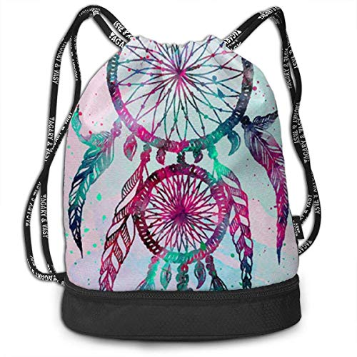 hengshiqi Rucksack Schultasche,Backpack, Gymsack Dream Catcher Print Drawstring Bags - Simple Gym Shoulder Bags
