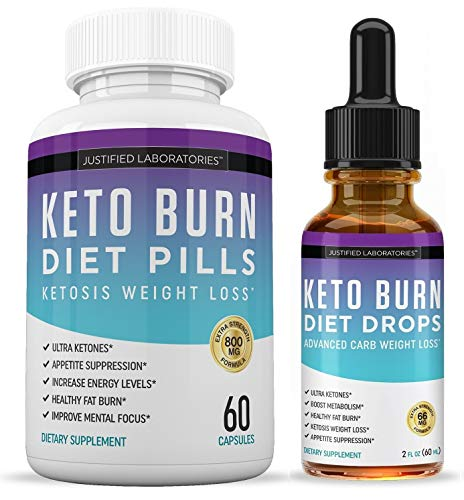 Keto Diet Pills and Keto Drops Burn Shred BHB Salts Exogenous Ketones Ketogenic Weight Loss Fat Burner Apple Cider Vinegar MCT Raspberry Ketone African Mango Advanced Ketosis Combo 1 Month Supply