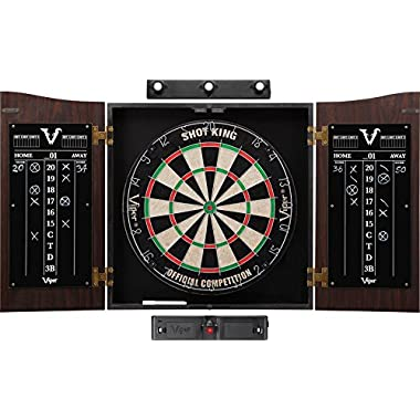 Viper Vault Sisal/Bristle Steel Tip Dartboard & Cabinet Bundle: Elite Set (Shot King Dartboard, Darts, Shadow Buster Laser Throw Line)