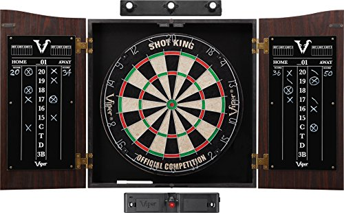 Viper Vault Cabinet & Shot King Sisal/Bristle Dartboard Ready-to-Play Bundle: Elite Set (Shot King...