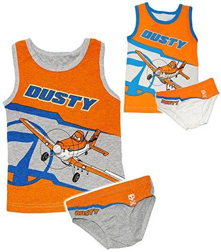 alles-meine.de GmbH 2 TLG. Set: Unterwäsche -  Disney Planes - Flugzeug Dusty  - Gr. 116 / 122 - Größe 5 bis 6 Jahre - Slip & Unterhemd - 100 % Baumwolle - Unterhose - für Kind..