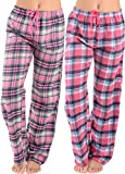 Women Flannel Lounge Pants-2 Pack-Plaid Pajama Pants Cotton Blend Pajama Bottoms(Pink Black & Pink Plaid, Medium)