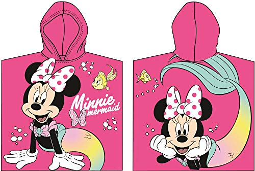 for-collectors-only Minnie Mouse Poncho Badetuch Kapuzenponcho Handtuch Mermaid Pink Strandtuch Kids Hooded Towel