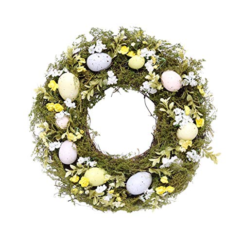 Easter Eggs Wreath Simulation Flower Natural Plants Wreaths With Mixed Flowers Grass And Twig Colorful For Door On The Wall Holiday Decorations (14 Inch)