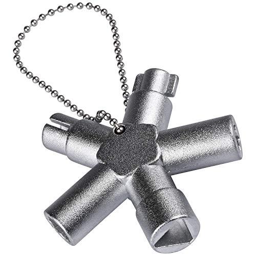 ABSINA Universalschlüssel mit 4 Profile - Universal Schlüssel für gängige Schränke & Absperrsysteme - Schaltschrankschlüssel Vierkant Dreikant Vierkantschlüssel Dreikantschlüssel Multi Key