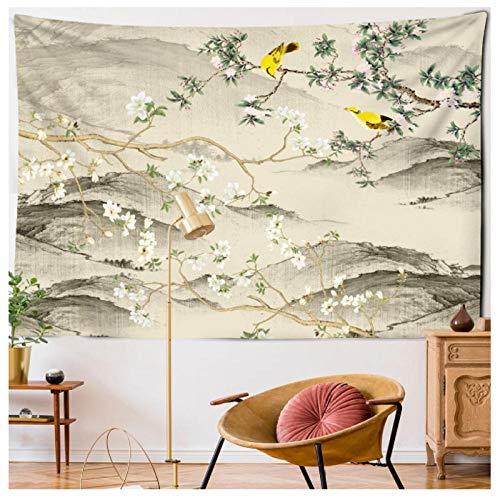 KBIASD Chinese Style Flower Bird Print Large Wall Tapestry Peach Blossom Plum Blossom Wall Hanging Art Carpet Tapestry 150x130CM