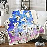 Loussiesd Manta de felpa Koala para niños, de forro polar, diseño de animales salvajes, para sofá, cama, estilo de vida silvestre, brillante, vibrante y colorida, para cama doble, de 152 x 192 cm