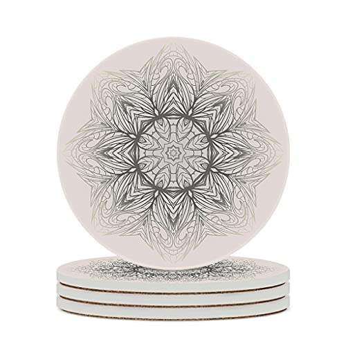 Wraill Round Coasters Beige Flower Ceramic Coasters Set of 4 / 6 Premium Coasters with Cork Base for Home Kitchen Office White 4pcs
