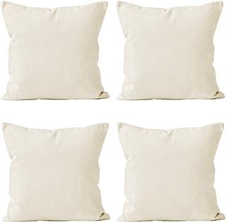 Encasa Homes poszewki na poduszki ozdobne 40 x 40 cm - puste off-białe 4 szt. opakowanie z niewidocznym zamkiem błyskawicz...