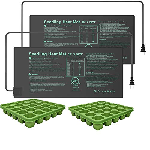 YOUSHENGER 10#039#039x2075#039#039 2 Pack Seedling Heat MatMET Certified Waterproof Germination Station with 2pcs Seed Starter Tray Warm Hydroponic Heating Pad for Indoor Home Gardening Plant Germination kit