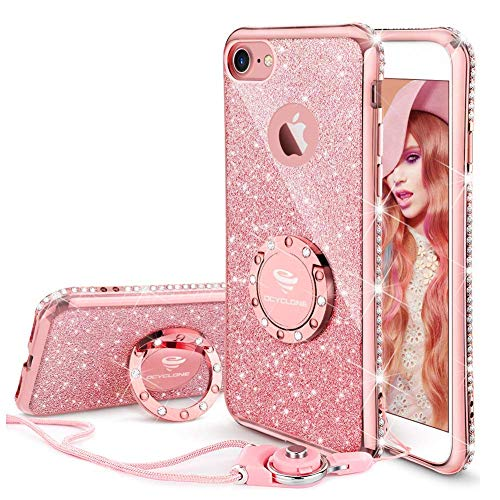 OCYCLONE Cover iPhone 7 Glitter Brillantini Strass Oro Rosa,Neck Strap e Kickstand Bling Silicone Diamante Brillante Cristallo Lucciante Luminosa Custodia per iPhone 7,4.7 Pollice