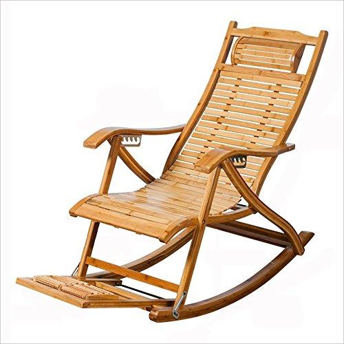JALAL Bambus Schaukelstuhl, Alter Mittagspause Stuhl, Massivholz Schaukelstuhl, Lazy Stuhl, Sessel