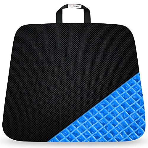 Heatfar Portable Gel Seat Cushion Double Thick Gel Seat Cushion Pad for Pressure Relief for Long Sitting with Non-Slip Cover, Breathable Honeycomb Chair Pad for Wheelchair Car Seat Home Office Chair