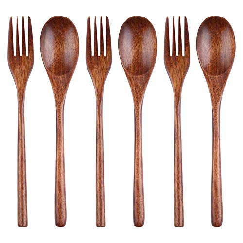 LARCISO 6 Pieces Wooden Spoons and Forks, 9' Korean Style Wooden Tableware, Kitchen Flatware for Food, Desserts, Soup, Salad, Fruit, Wood Cutlery for Travel