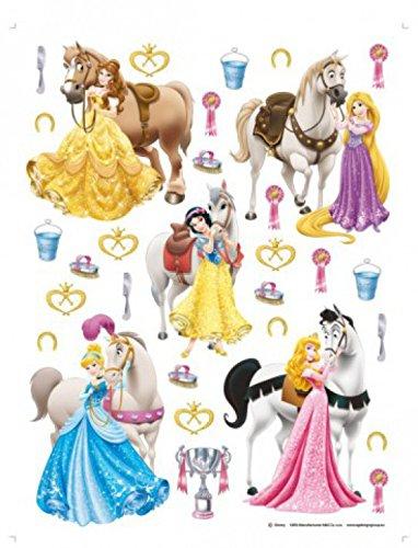 1art1 Princesses Disney Sticker Adhésif Mural Autocollant - Belle, Rapunzel, Blanche Neige, Cendrillon, Aurora Et Leurs Chevaux (65 x 42 cm)