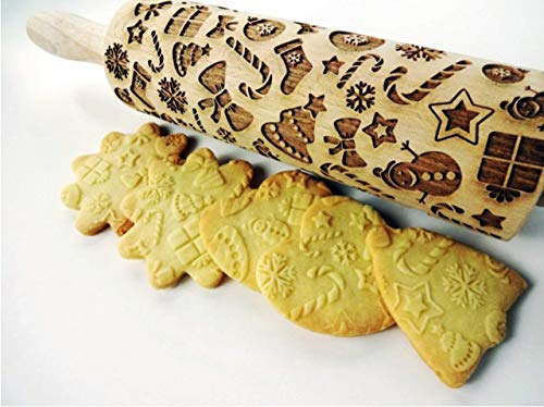 CHRISTMAS GIFTS EMBOSSING ROLLING PIN laser engraved with Christmas symbols CHRISTMAS GINGERBREAD COOKIES