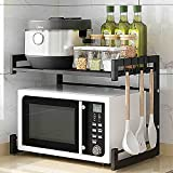 Abacad Adjustable Microwave Oven Rack Shelf, Toaster Oven stand Shelf Expandable, Rice Cooker Stand, Length 15.8-23.6 inches, 2-tier,8 Hooks, 55 lbs Load, black