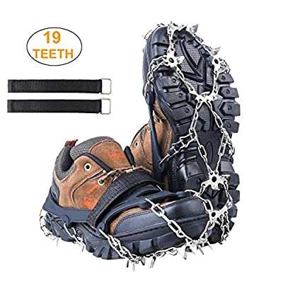 Meichu 19 Spikes Crampons Ice Cleats, Ice Snow Grips Safe Protect for Shoes Boots Snow Cleats Men Women Walking Climbing Hiking(Black, X-Large)