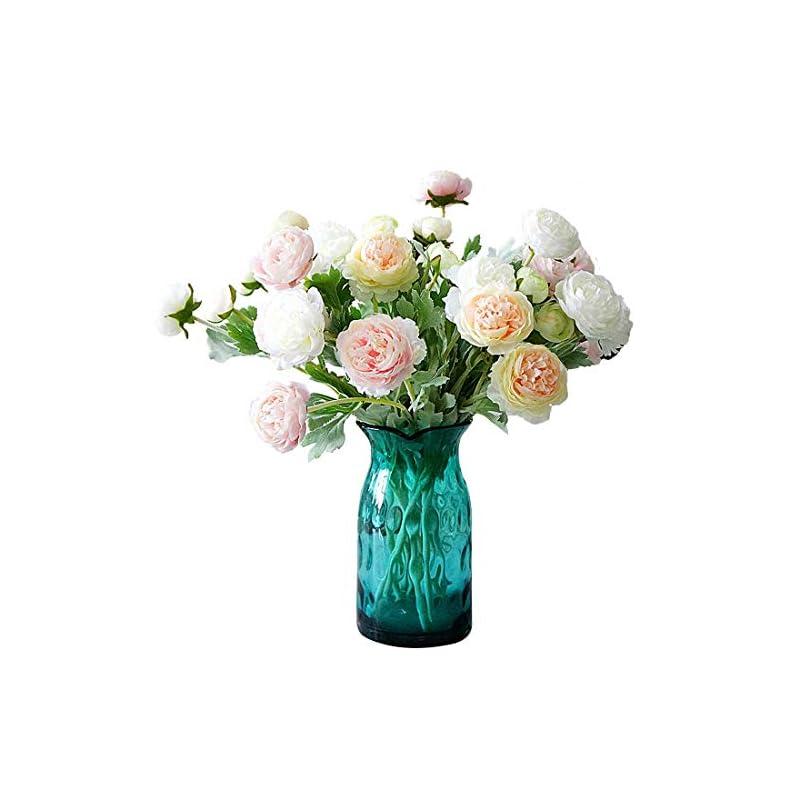 silk flower arrangements calcifer 6 sets(3 flowers/set) 19.29'' ranunculus asiaticus artificial flowers bouquet for home garden wedding party decoration (champagne)