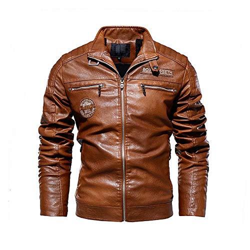Chaqueta de cuero de imitación de motocicleta casual para hombres, chaqueta de café Racer Slim Fit Vintage Stand Collar Motorcycle Biker Leather Black Jacket Coat para hombres
