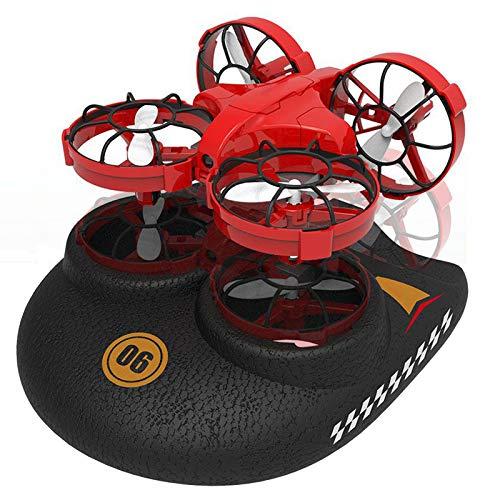 WANXJM Ferngesteuertes RC-Boot, umschaltbares wasserdichtes Hovercraft-Spielzeug im 3-in-1-Seeland-Luft-Modus, Niederdruckalarm mit Einer Taste,Rot