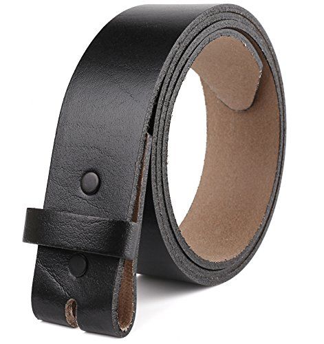 "Belt for buckle men Snap on Strap Full Grain One Piece Leather no buckle,1 1/2"" Wide, Made in USA, Black size 38"
