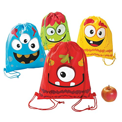 Fun Express Silly Monster Drawstring Backpack (1 Dozen) Apparel Accessories, Totes, Novelty Backpacks, Party Favor Bags